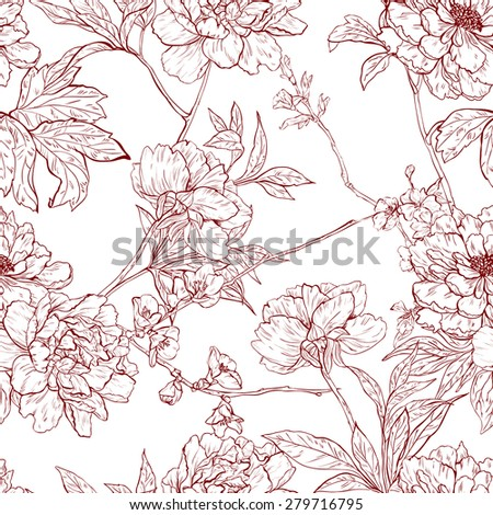Vector seamless floral pattern with flowers. - stock vector
