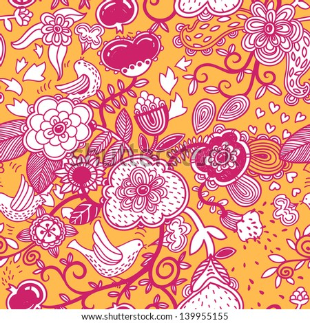 vector seamless floral pattern with pink doodles on a yellow background