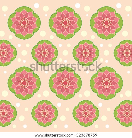vector seamless floral pattern with red flower and skin background.Can be used for wallpaper, pattern fills, web page background,surface textures.