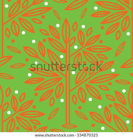 Vector seamless floral pattern with tree leafs - stock vector
