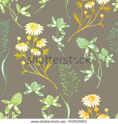 Vector seamless floral pattern with wild herbs and flowers.Colored on brown. Hand drawn botanical herbal illustration in sketch style. For print, fabric, wallpaper, wrapping and other seamless design. - stock vector