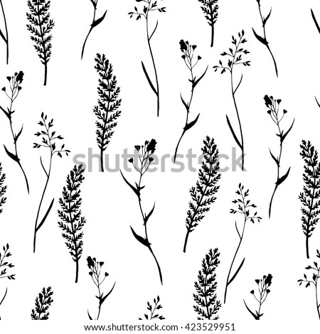 Vector seamless floral pattern with wild herbs and leaves. Black and white. Hand drawn botanical illustration for print, wrapping, fabric, background and other seamless natural design. - stock vector