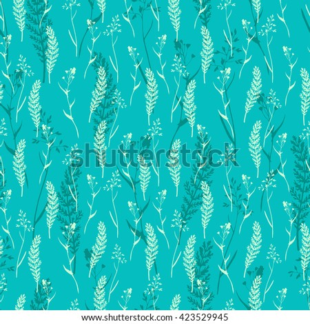 Vector seamless floral pattern with wild herbs and leaves. Hand drawn botanical illustration for print, wrapping, fabric, background and other seamless natural design. - stock vector
