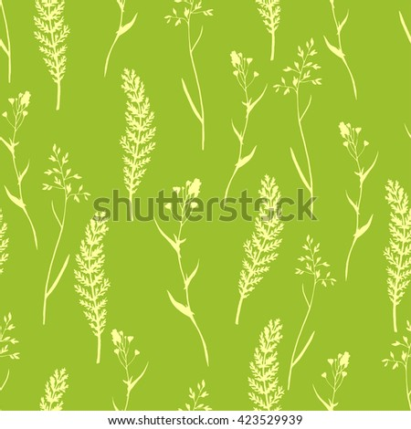 Vector seamless floral pattern with wild herbs and leaves on green. Hand drawn botanical illustration for print, wrapping, fabric, background and other seamless natural design. - stock vector