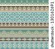 Vector seamless floral retro borders, fully editable eps 8 file, seamless brushes included - stock vector