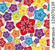Vector seamless floral wallpaper. - stock photo