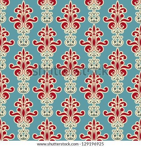 vector seamless floral wallpaper pattern, fully editable eps 8 file,seamless pattern in swatch menu - stock vector