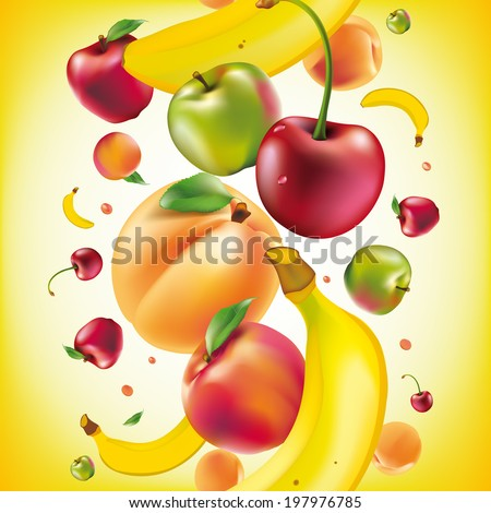 vector seamless fruits pattern - stock vector