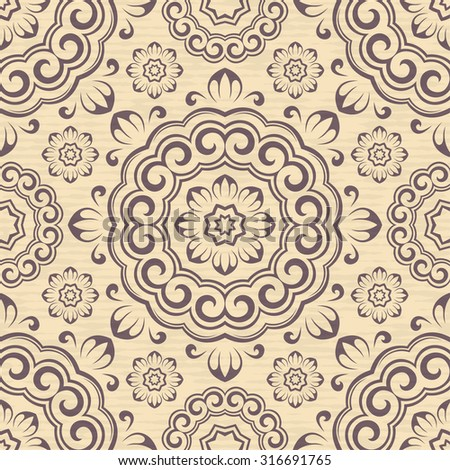 Vector seamless geometric ornamental pattern background.