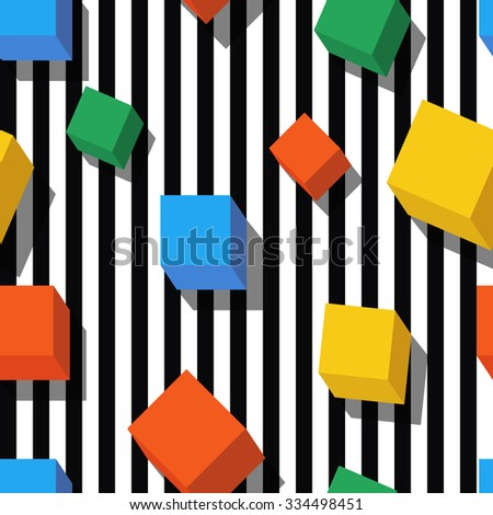 Vector seamless geometric pattern. Flat style multicolor cubes and black, white striped background. Trendy design concept for fashion textile print. - stock vector