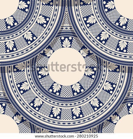 Vector seamless geometric pattern with detailed  Romanian folk motif - stock vector