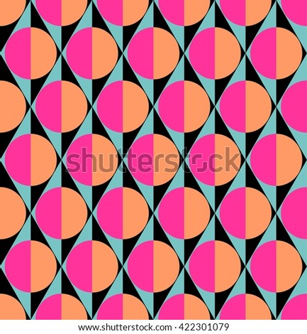Vector seamless geometric pattern with half circles and rhombuses - stock vector