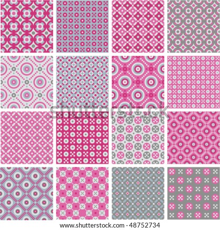 Vector seamless geometric patterns - stock vector