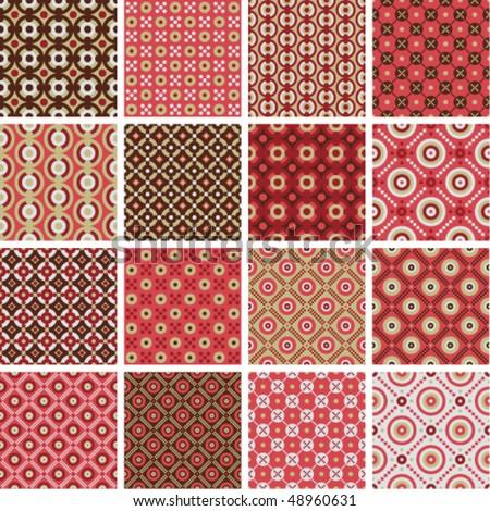 Vector seamless geometric patterns - stock vector