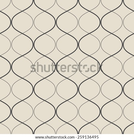 Vector seamless geometric retro pattern. Abstract background made with curved lines. - stock vector
