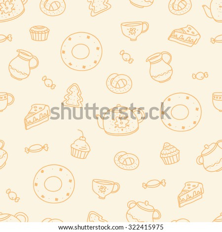 Vector seamless graphic pattern with sweet cupcakes and tea kettle on the white background. Line drawing doodle pattern.