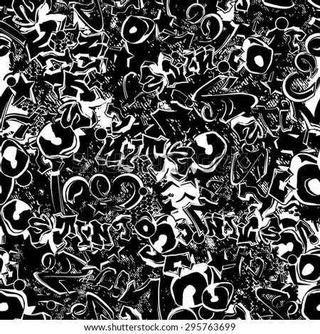 vector seamless graphical black and white graffiti pattern. street wall art. youth, stylish, modern, aggressive, dynamic. Textured print. Words, letters. - stock vector