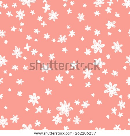 vector seamless graphical minimalistic hand drawn ditsy flower print - stock vector