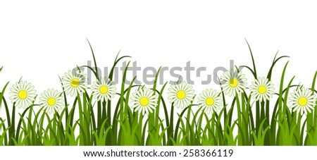vector seamless grass and daisies border isolated on white background - stock vector