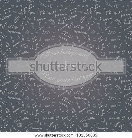 vector seamless greeting card with musical symbols
