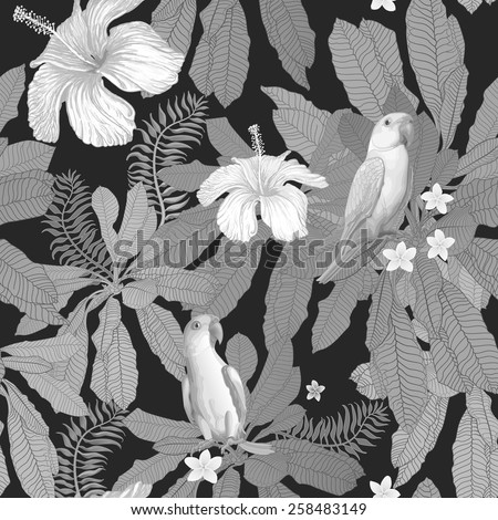 Vector seamless grey-scale floral pattern from hand drawn hibiscus and plumeria flowers, Indian  parrots, and fantasy tropical foliage at the black background - stock vector