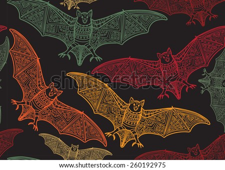Vector seamless halloween pattern with bat .Modern stylish texture. Repeating abstract background - stock vector