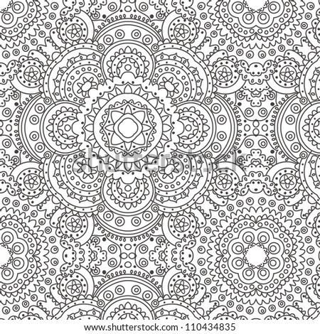vector seamless hand drawn black floral pattern background - stock vector