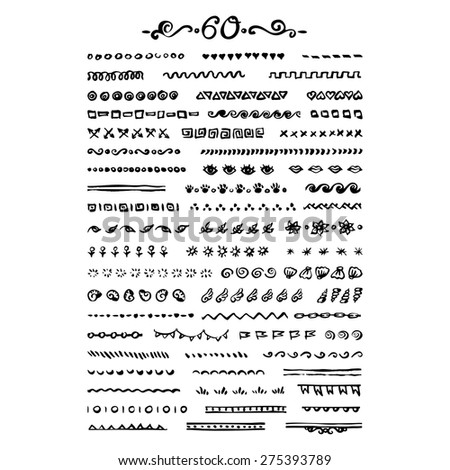 Vector seamless hand drawn brushes and borders set of 60 elements - ink brush decorative frames components ready to use