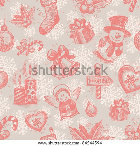 Vector seamless hand drawn Christmas background - stock vector