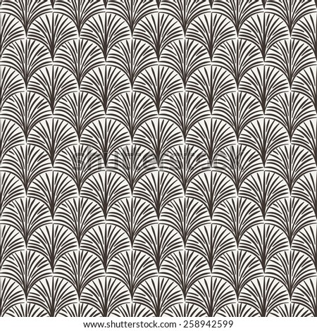 Vector seamless hand-drawn floral pattern in brown contrasting colors
