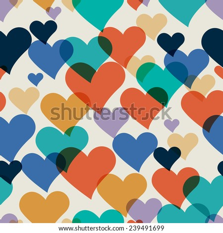 Vector seamless hand-drawn pattern with colorful hearts. Valentines romantic background. - stock vector