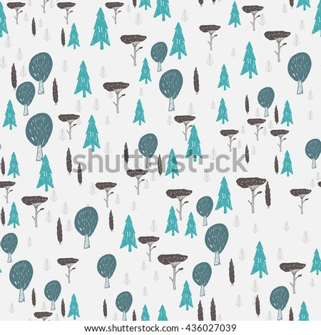 Vector seamless hand drawn pattern with trees. Textil, paper, polygraphy, game, web design - stock vector