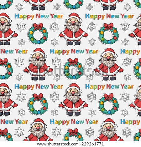 Vector seamless Happy New Year pattern with Santa Claus, wreath, text, snowflakes, Christmas trees on a white background - stock vector