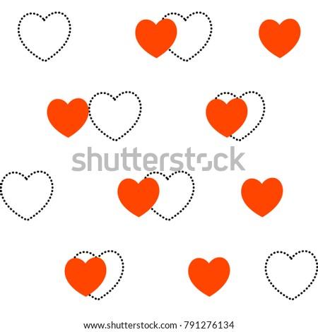 Vector Seamless Heart Pattern Love Symbol Stock Vector 791276134