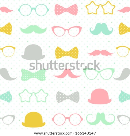 Vector seamless hipster background . Retro mustaches, glasses and bows. Kid's elements for scrap-booking. Childish background. Hand drawn vector illustration.  - stock vector