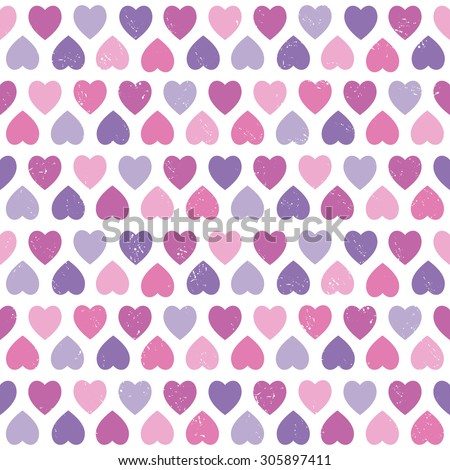 Vector seamless hipster background with hearts pattern in pink and purple. For baby shower, gift wrapping paper, textiles, scrapbooking. - stock vector