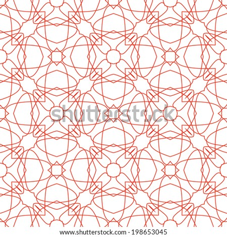 Vector Seamless Illustration of Red Tangier Grid, Abstract Guilloche Background