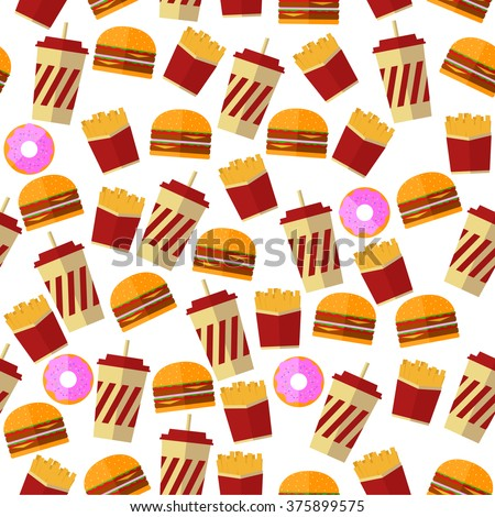 Vector Seamless Illustration / Pattern Of Tasty Burgers, Drinks And Donuts. Perfect For Cafe, Restaurant Menu Design, Wallpaper Design And Wrapping Paper Design
