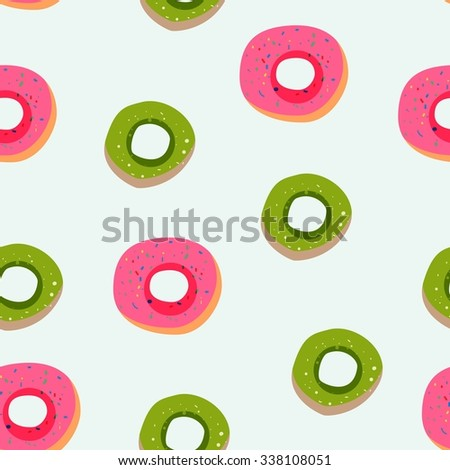 Vector seamless illustration with sweet donuts - stock vector