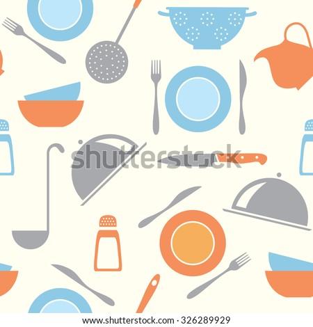 vector seamless kitchen pattern - stock vector