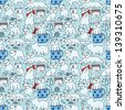 Vector seamless light blue doodle pattern with cats - stock vector
