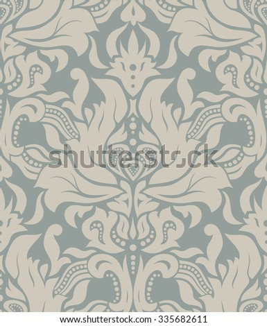Vector. Seamless light gray and beige damask vintage pattern.  - stock vector