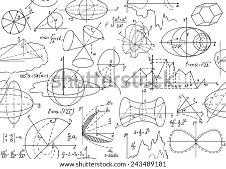"Vector seamless math pattern with mathematical figures, calculations and plots, ""handwritten on the white paper"" - stock vector"