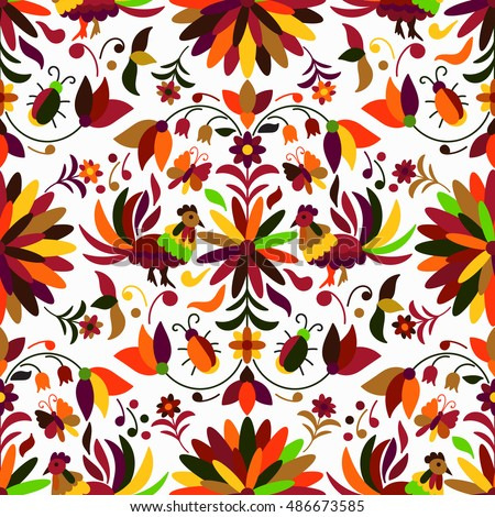 Vector Seamless Mexican Otomi Style Autumn Pattern