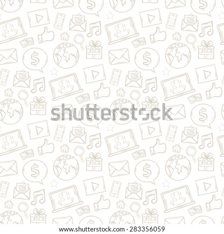 Vector seamless Mobile apps pattern with music,chat,gallery,speaking bubble,email,magnifying glass,shopping,search,notebook,laptop,cloud,wireless,hand - stock vector