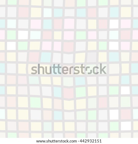 Vector seamless modern simple background with multicolored pastel pattern in a cage. Textile fabric print - stock vector