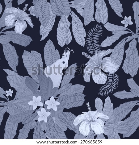 Vector seamless monochrome floral pattern from hand drawn hibiscus flowers, Australian parrot and fantasy blue tropical foliage at the dark indigo background - stock vector
