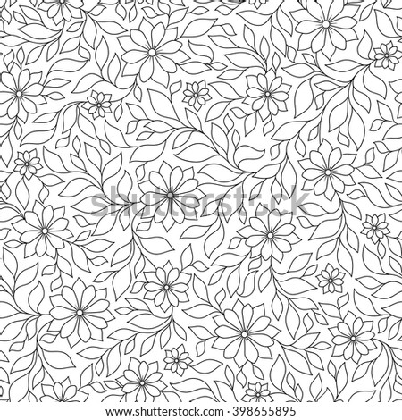 Vector Seamless Monochrome Floral Pattern. Hand Drawn Floral Texture, Decorative Flowers, Coloring Book - stock vector