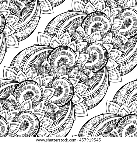 Vector Seamless Monochrome Floral Pattern. Hand Drawn Floral Texture, Decorative Flowers, Coloring Book. Floral Lace for Your Design