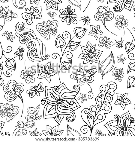 Vector Seamless Monochrome Floral Pattern. Hand Drawn Floral Texture with Insects, Decorative Flowers, Coloring Book - stock vector